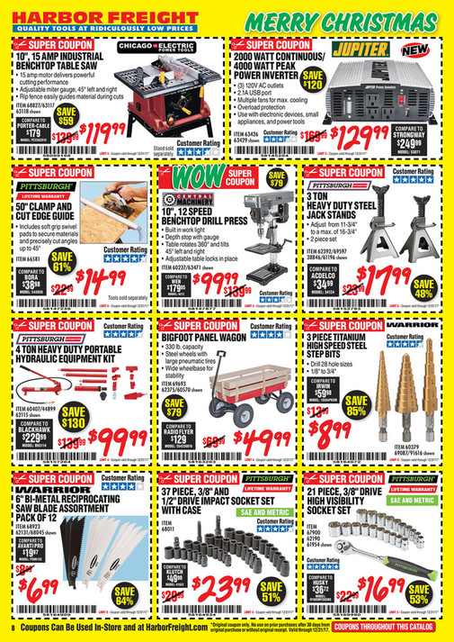Merry Christmas Harbor Freight Quality Tools At Ridiculously Low Prices Super Coupon 10