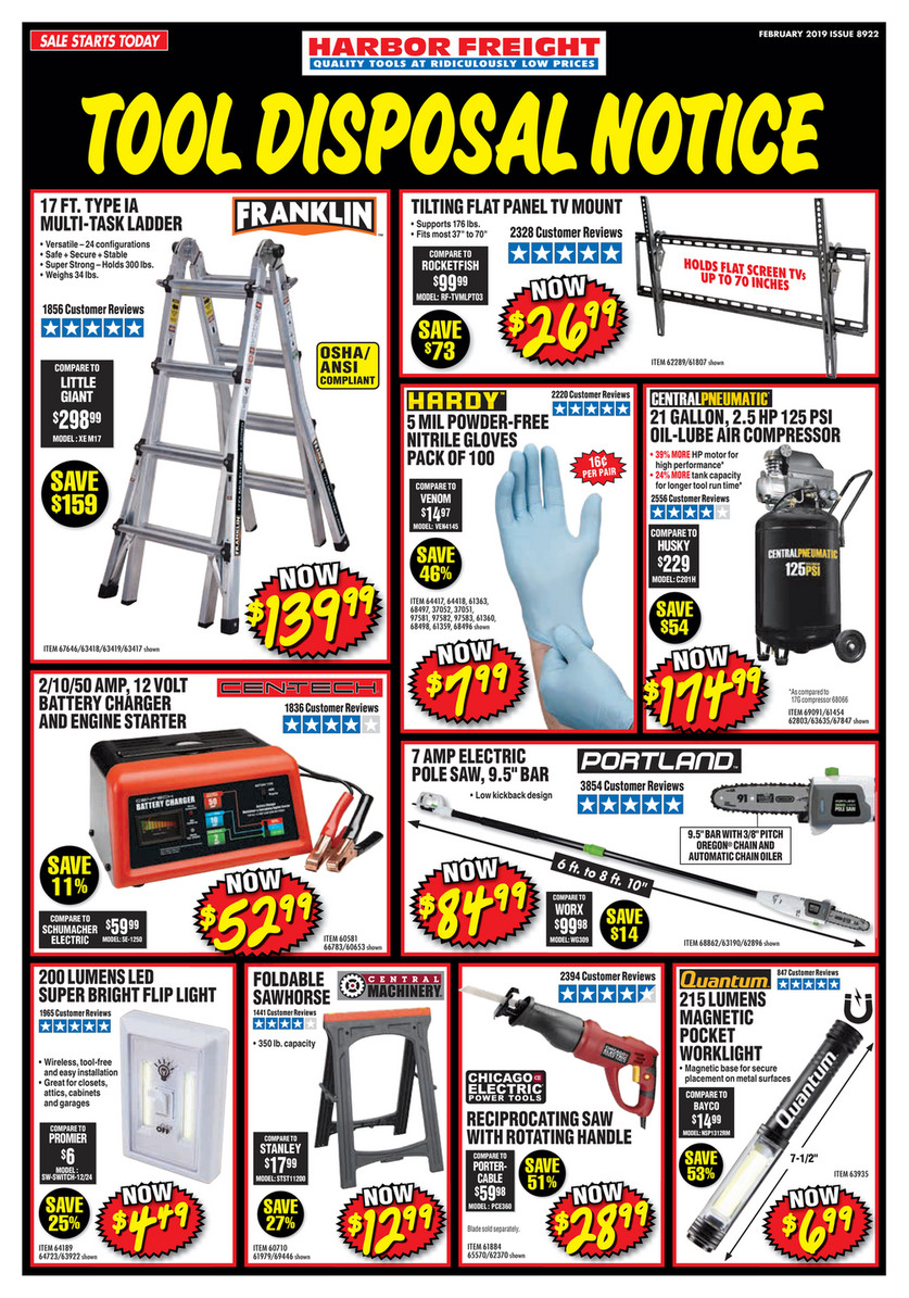 Harbor Freight Tools February 2019 Ad Page 1