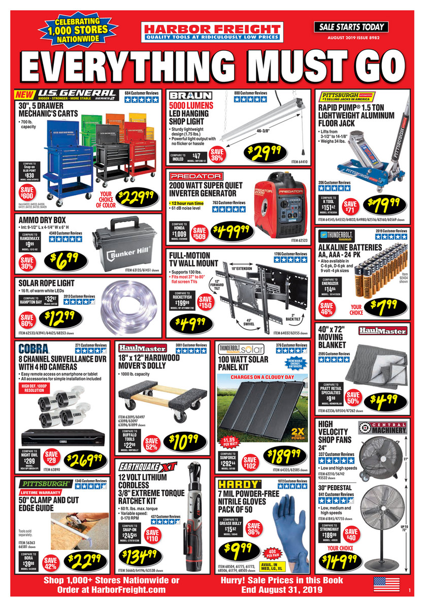 Harbor Freight Tools - August 2019 Ad - Page 1