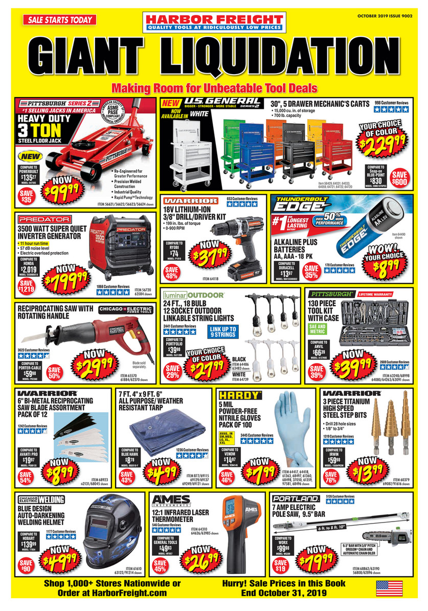 Harbor Freight Christmas Eve Hours.Harbor Freight Tools October 2019 Ad Page 1